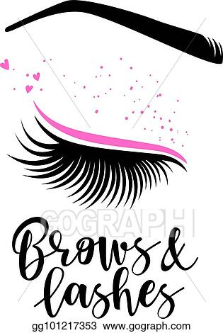 86f0d2d91fb Vector Stock - Brows and lashes lettering. Clipart Illustration ...