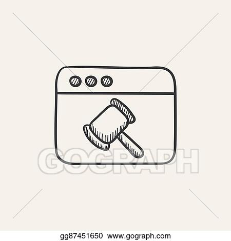 EPS Vector - Browser window with judge or auction hammer sketch icon on gamer clip art, wireframe clip art, plugin clip art, software clip art, internet clip art, computer clip art, bar charts and graphs clip art, http clip art, laptop clip art, office clip art, tablet clip art, desktop clip art, javascript clip art, chrome clip art, forward arrow button clip art, pc hug bug clip art, evernote clip art, smartphone clip art, firefox clip art, report clip art,
