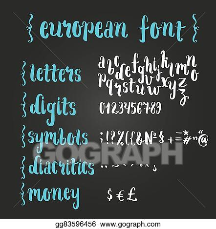 Eps Illustration Brush Script European Alphabet Vector Clipart