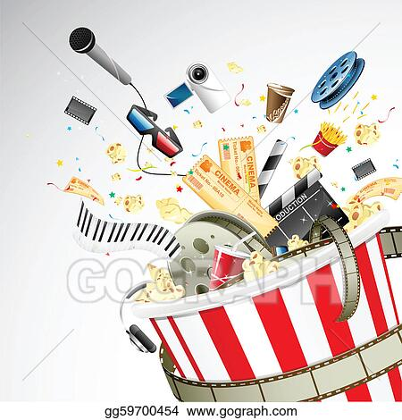 Vector Illustration Bucket Full Of Entertainment Stock Clip Art