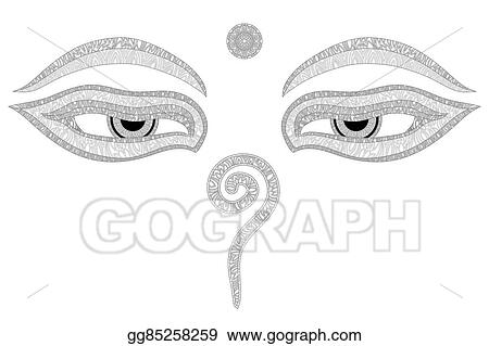 Eps Vector Buddha Eyes Nepal Symbol Of Wisdom And Enlightenment