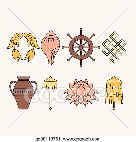 Vector Illustration Buddhist Symbolism The 8 Auspicious Symbols