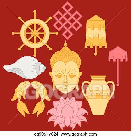 Eps Vector Buddhist Symbolism The 8 Auspicious Symbols Of