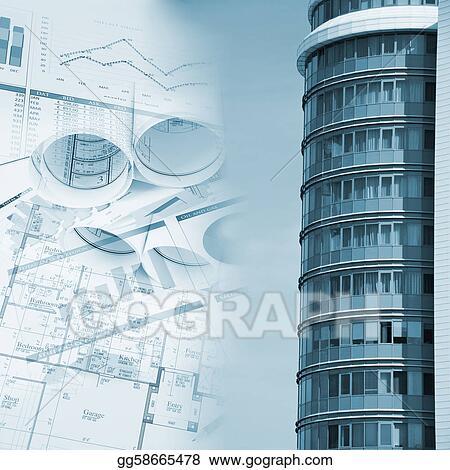 Stock illustrations building and blueprints business collage building and blueprints business collage malvernweather Choice Image