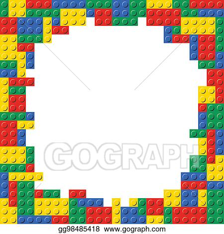 Drawing - Building block frame border background template. Clipart ...