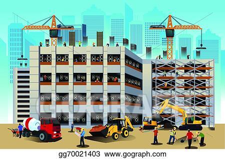 House Construction Clip Art : Vector stock building construction scene clipart illustration