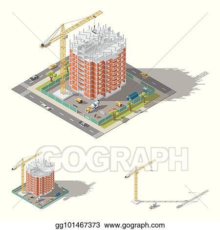 Vector Art - Building house, pouring a reinforced concrete frame ...