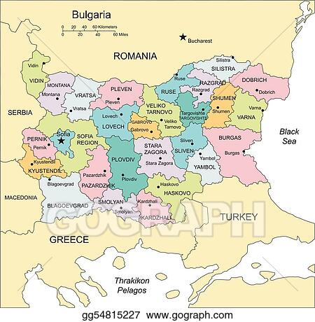 Vector illustration bulgaria with administrative districts and bulgaria with administrative districts and surrounding countries gumiabroncs Image collections