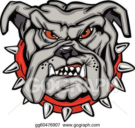 Vector Stock Bulldog Cartoon Face Vector Clipart Illustration