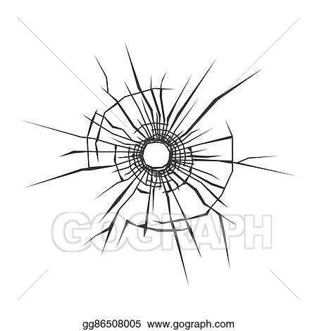 vector illustration bullet hole in glass white background vector rh gograph com Real Bullet Holes bullet hole clip art free
