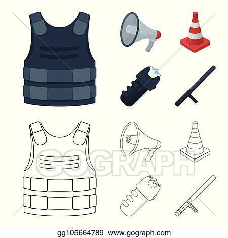Vector Art , Bulletproof vest, megaphone, cone of fencing