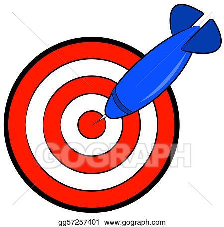 stock illustration bullseye with blue dart hitting target rh gograph com arrow bullseye clipart bullseye clipart free