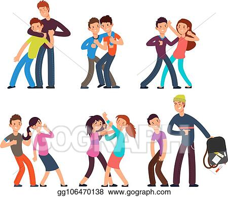 Vector Stock Bullying Kids Stop School Bully Aggressive And Sad Children Cartoon Fighting Teenagers Vector Characters Set Clipart Illustration Gg106470138 Gograph