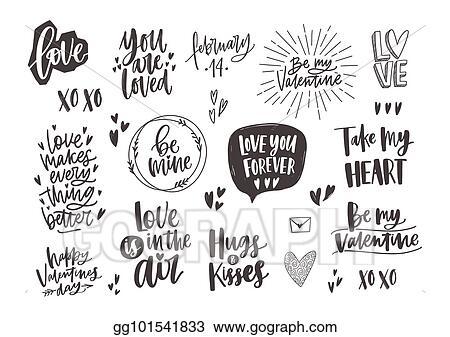 Vector Art Bundle Of Trendy Monochrome Valentine S Day Letterings