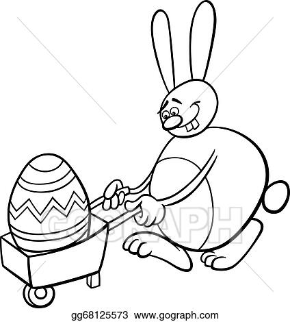 EPS Vector - Bunny And Easter Egg Coloring Page. Stock Clipart Illustration  Gg68125573 - GoGraph