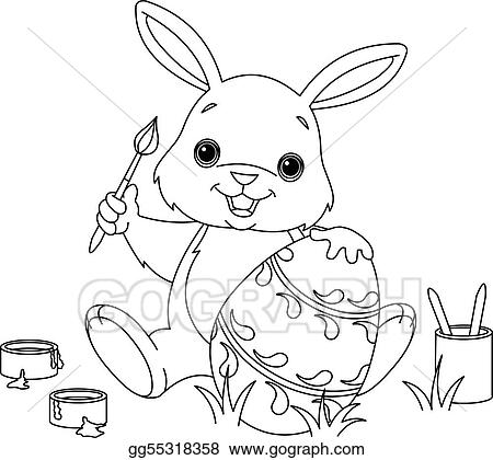 Vector Illustration - Bunny painting easter egg coloring page. Stock ...