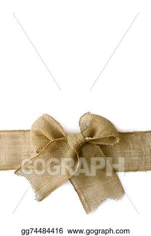 Stock Photography - Burlap christmas bow wrapped arounf white ...