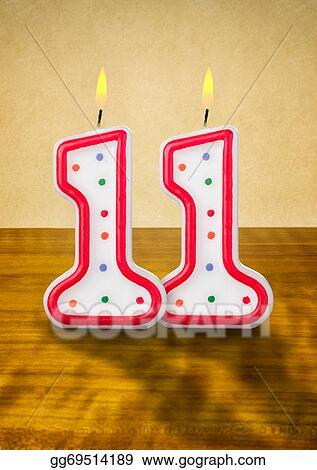 Stock Illustration Burning Birthday Candles Number 11