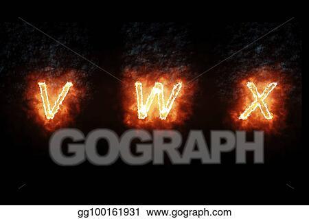 Stock Illustration - Burning font v, w, x, fire word text