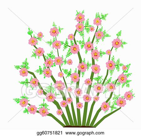Stock Illustration Bush With Large Pink Flowers Clipart