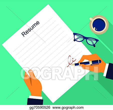 Vector Illustration Business Background With Resume Vector