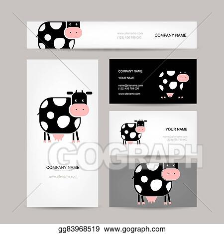 Vector illustration business cards design with funny cow stock business cards design with funny cow colourmoves