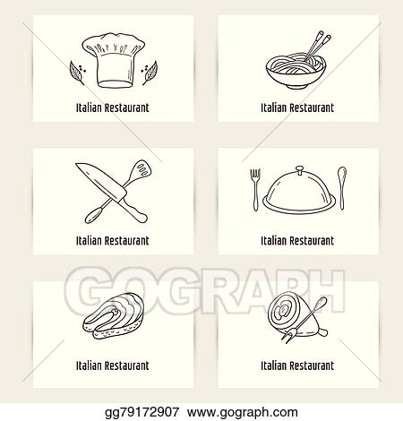 Clip art vector business cards set with outline style doodle food business cards set with outline style doodle food template for restaurant or cafe colourmoves