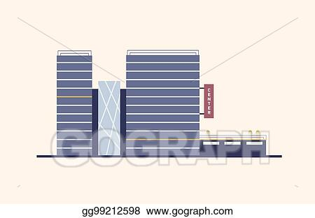 Vector Art Business Commercial Or Office Center With Glass Facade