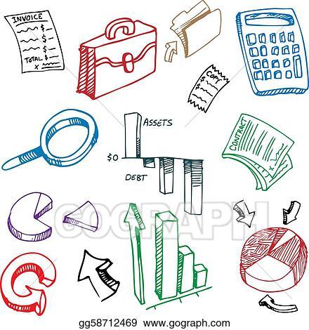 Vector Clipart Business Financial Accounting Drawing Set Rh Gograph Com Ledger Clip Art