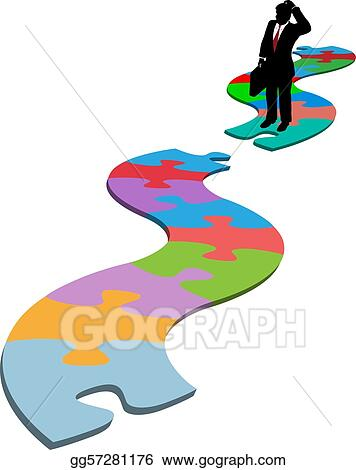 Business Man Find Missing Piece Puzzle Path