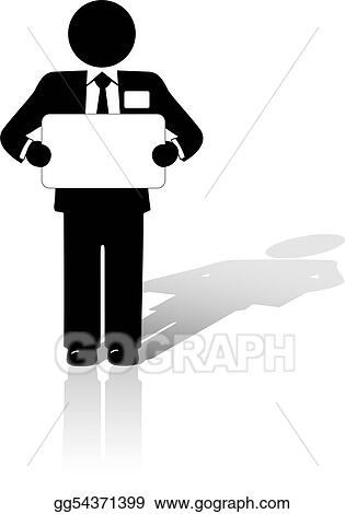 vector art business man holds blank copyspace sign eps clipart