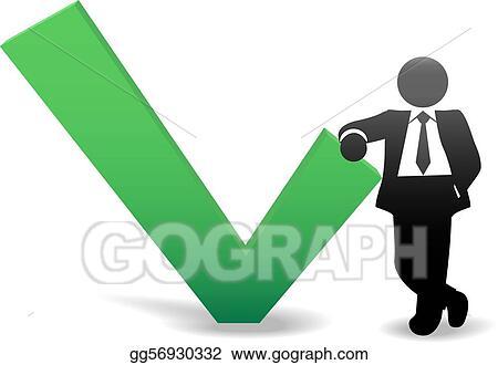 Vector Art Business Man Symbol Leans On Ok Check Mark Clipart