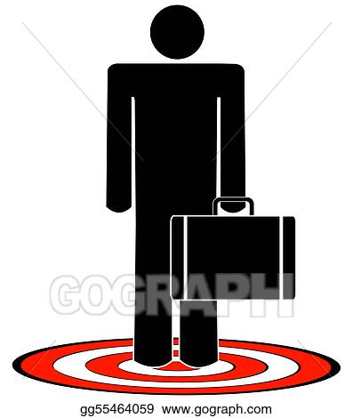 stock illustration business man with briefcase standing on target
