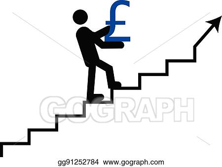 Vector Art Business Man With Pound Climbing Pound Value Going Up