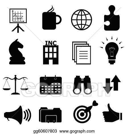 vector illustration business objects icon set stock clip art rh gograph com Me Too Clip Art City Clip Art