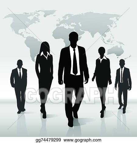 Eps illustration business people group walk silhouette over world business people group walk silhouette over world map gumiabroncs Images