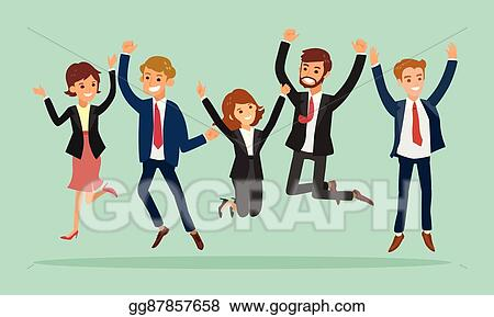 clip art vector business people jumping celebrating success cartoon illustration stock eps gg87857658 gograph business people jumping celebrating