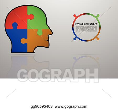 business puzzle infographics with 4 steps four steps timeline infographic with head shape with puzzle or jigsaw on gray gradient backdrop with reflection_gg90595403 vector art business puzzle infographics with 4 steps four steps