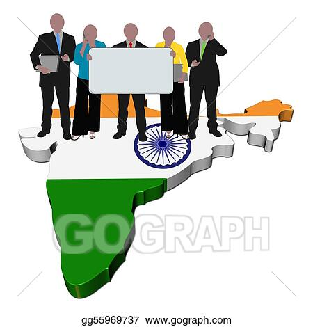 India Map Flag.Clipart Business Team With Sign On India Map Flag Illustration
