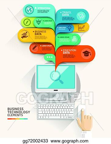clip art vector business technology concept computer and bubble