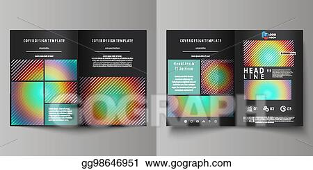 Vector Clipart Business Templates For Bi Fold Brochure Flyer Report Cover Template Abstract Vector Layout In A4 Size Minimalistic Design With Circles Diagonal Lines Geometric Shapes Beautiful Background Vector Illustration Gg98646951