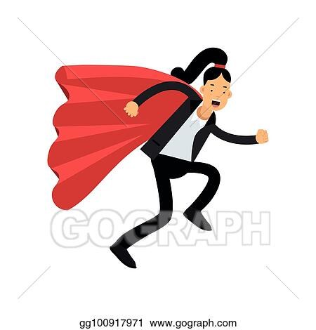 EPS Vector - Business woman with red superhero cloak running