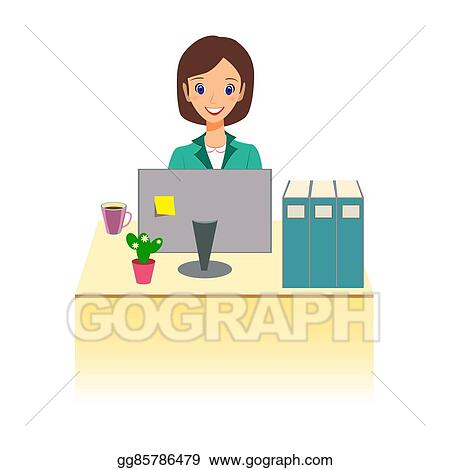 Eps Illustration Business Woman Working In Office Character Design Vector Clipart Gg85786479 Gograph
