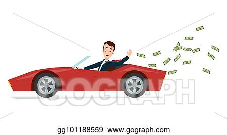 Businessman Driving A Red Sports Car And Throwing Money Away