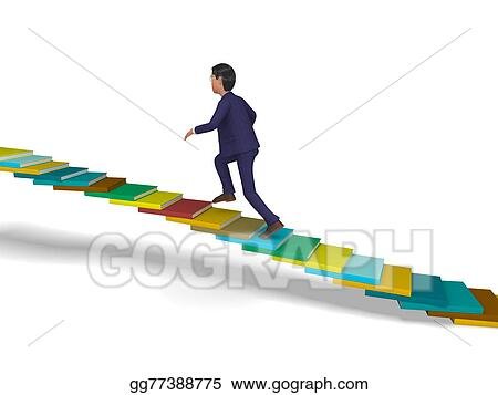 Businessman Going Up Shows Stair Steps And Progress