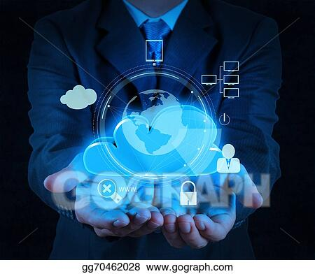 Stock Photo - Businessman hand cloud 3d icon on touch screen