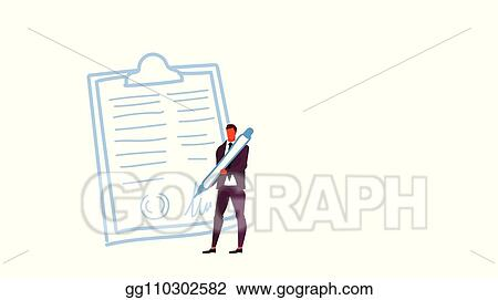 4ddf3d5f ... holding pen signed up contract business agreement paper document  concept boss signing clip board form male character full length sketch  horizontal