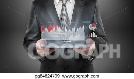 Stock Photo Businessman Holding Tablet Pc Computer With