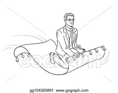 Clip Art Vector - Businessman on magic carpet coloring vector. Stock ...