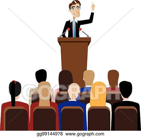 vector art businessman public speaking eps clipart gg99144978 rh gograph com public speaking clipart public speaking animated clipart